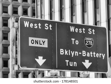 New York City classic street signs and directions.