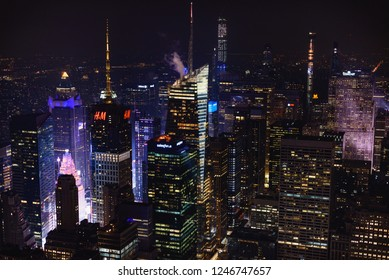 NEW YORK CITY - DEC 01 Aerial view of Manhattan midtown Skyscrapers at night, December 01th, 2018 in Manhattan, New York City, USA.