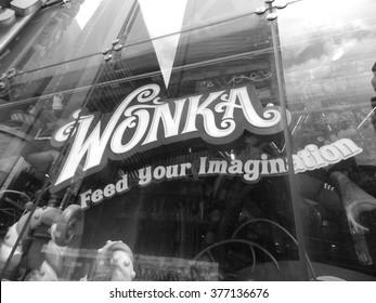 NEW YORK CITY - Dec 11, 2013: Wonka store adv in Manhattan.
