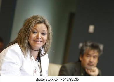 NEW YORK CITY - DECEMBER 1 2016: The Brooklyn Hospital Center held its regular legislative breakfast meeting with plans to revamp emergency services. ER Department Chief Dr Sylvie De Souza