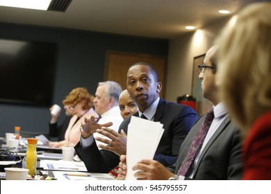 NEW YORK CITY - DECEMBER 1 2016: The Brooklyn Hospital Center held its regular legislative breakfast meeting with plans to revamp emergency services. NY City Council member Walter T. Mosley