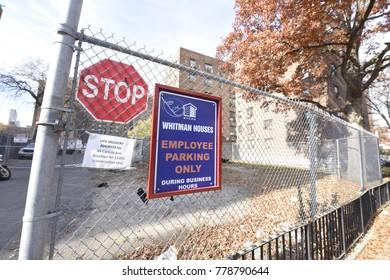 NEW YORK CITY - DECEMBER 1 2017: Views of New York City Housing Authority residences: Walt Whitman Houses
