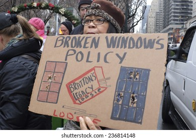 "NEW YORK CITY - DECEMBER 10 2014: Picture the Homeless held a rally in front of the Manhattan Institute against the ""broken windows"" philosophy of law enforcement which was developed there."