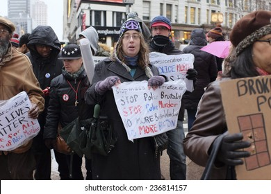 """NEW YORK CITY - DECEMBER 10 2014: Picture the Homeless held a rally in front of the Manhattan Institute against the """"broken windows"""" philosophy of law enforcement which was developed there."""