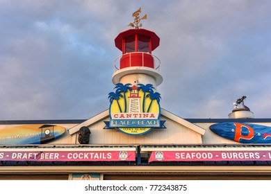 New York City - December 10, 2017: Cantina Restaurant along the boardwalk in Coney Island in the winter.