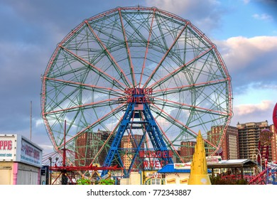 New York City - December 10, 2017: Wonder Wheel in Luna Park. Its an amusement park in Coney Island opened on May 29, 2010 at the former site of Astroland, named after original park from 1903.