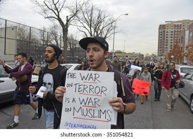 NEW YORK CITY - DECEMBER 12 2015: Activists with QueensFightBack gathered in Astoria before marching to Fatima Food Mart where the owner had been assaulted by a man shouting anti-Islamic curses.
