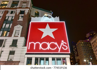 New York City - December 12, 2017: Macy's Department Story in New York City at night on 34th Street, Herald Square.