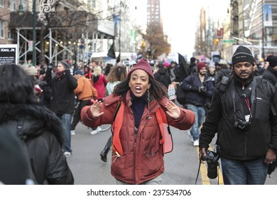 NEW YORK CITY - DECEMBER 13 2014: thousands filled the streets of Lower Manhattan in the Million March NYC to protest police brutality & the lack of organizational accountability.