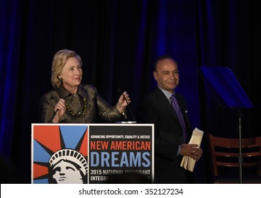 NEW YORK CITY - DECEMBER 13 2015: Former Secretary of State Hillary Rodham Clinton spoke at the National Immigration Integration conference. Secretary Clinton with Representative Luis Gutierrez