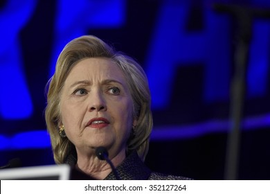NEW YORK CITY - DECEMBER 13 2015: Former Secretary of State Hillary Rodham Clinton spoke at the National Immigration Integration conference.