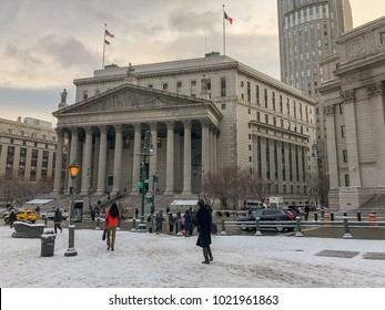 New York City - December 14, 2017: Thurgood Marshall United States Courthouse Classical Revival courthouse in lower Manhattan in New York City.