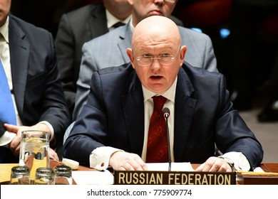NEW YORK CITY - DECEMBER 15 2017: The United Nations Security Council met in special session to debate alleged North Korean Nuclear proliferation. Russian Federation representative Vasily Nebenzia