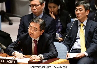 NEW YORK CITY - DECEMBER 15 2017: The United Nations Security Council met in special session to debate alleged North Korean Nuclear proliferation. South Korean representatives.
