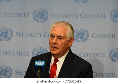 NEW YORK CITY - DECEMBER 15 2017: US Secretary of State Rex Tillerson holds press conference after Security Council debate over North Korea's alleged nuclear proliferation