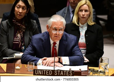 NEW YORK CITY - DECEMBER 15 2017: The United Nations Security Council met in special session to debate alleged North Korean Nuclear proliferation. US Secretary of State Rex Tillerson