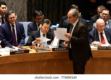 NEW YORK CITY - DECEMBER 15 2017: The United Nations Security Council met in special session to debate alleged North Korean Nuclear proliferation. Passing out North Korea's official riposte