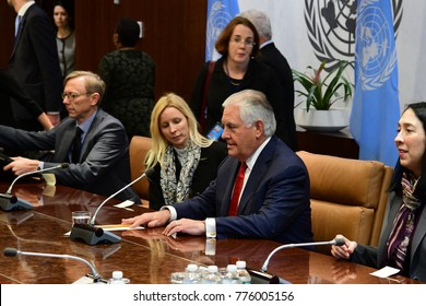 NEW YORK CITY - DECEMBER 15 2017: The UN Security Council met in special session to debate  North Korean Nuclear proliferation. Secretary of State Rex Tillerson greets Secretary-General & signs book