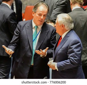 NEW YORK CITY - DECEMBER 15 2017: The UN Security Council met in to debate alleged North Korean Nuclear proliferation. UK Minister for Asia Mark Field with US Secretary of State Rex Tillerson