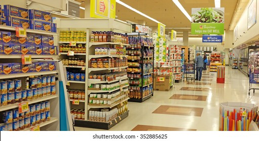 NEW YORK CITY - DECEMBER 16 2015: Stop & Shop, a retail grocer with 422 locations throughout the northeastern US, recently took over a Pathmark grocery location in the Atlantic Avenue Mall.