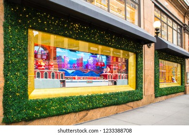 NEW YORK CITY - DECEMBER 17, 2017:  View of Macy's Department Store at Herald Square in Manhattan with holiday window displays