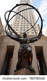 NEW YORK CITY - DECEMBER 19, 2017: Atlas statue by Lee Lawrie in front of Rockefeller Center in midtown Manhattan. The sculpture depicts the Ancient Greek Titan Atlas holding the heavens