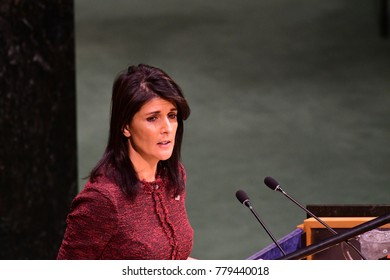 NEW YORK CITY - DECEMBER 21 2017: After remarks from the PA, US, Israel & others, the UN General Assembly voted to condemn US recognition of Jerusalem as Israel's capital. US Ambassador Nikki Haley