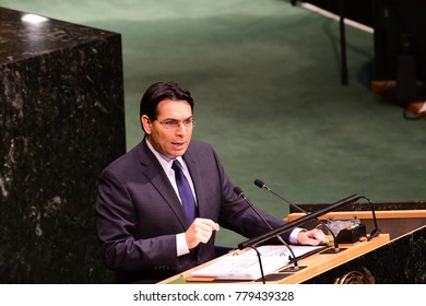 NEW YORK CITY - DECEMBER 22 2017: After remarks from member states, the UN General Assembly voted to condemn US recognition of Jerusalem as Israel's capital. Israeli ambassador Danny Danon speaks