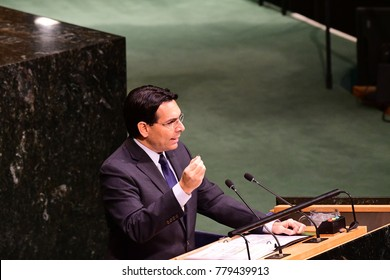 NEW YORK CITY - DECEMBER 22 2017: The UN General Assembly voted to condemn US recognition of Jerusalem as Israel's capital. Israeli ambassador Danny Danon holds antique Sheckel aloft