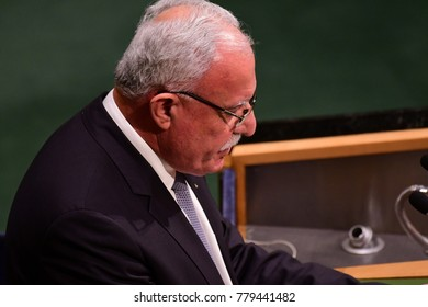 NEW YORK CITY - DECEMBER 22 2017: After remarks from members, the UN General Assembly voted to condemn US recognition of Jerusalem as Israel's capital. Palestinian foreign minister Riyad al-Maliki