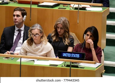 NEW YORK CITY - DECEMBER 22 2017: After remarks from members, the UN General Assembly voted to condemn US recognition of Jerusalem as Israel's capital. US representatives in GA hall listen to speeches