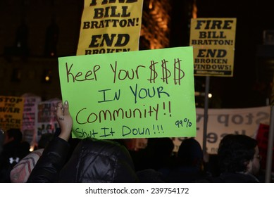 NEW YORK CITY - DECEMBER 23 2014: several hundred demonstrators gathered on Fifth Avenue for a march & protest against police brutality & lack of accountability in the death of Eric Garner & others