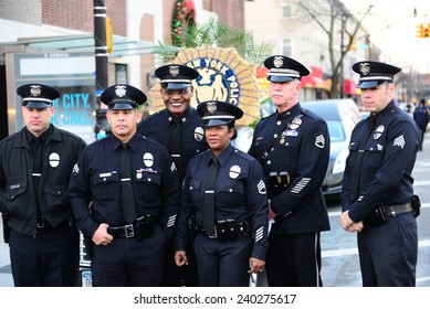 NEW YORK CITY - DECEMBER 27 2014: along with political leaders, uniformed police officers from all over north America attended funeral services for slain NYPD officer Rafael Ramos. LAPD officers