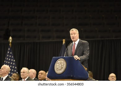 NEW YORK CITY - DECEMBER 29 2015: Mayor de Blasio, Commissioner Bratton and Homeland Security chief Johnson presided over the graduation of new officers at Madison Square Garden. Mayor de Blasio
