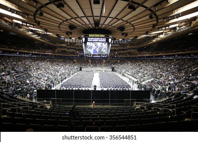NEW YORK CITY - DECEMBER 29 2015: Mayor de Blasio, Commissioner Bratton and Homeland Security chief Johnson presided over the graduation of new officers at Madison Square Garden.