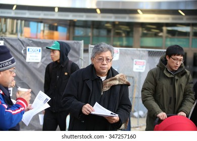 NEW YORK CITY - DECEMBER 3 2015: Stop Mass Incarceration Network & the Revolutionary Club of NY marked the anniversary of a grand jury's failure to indict in the death of Eric Garner. Steve Yip