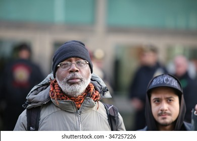 NEW YORK CITY - DECEMBER 3 2015: Stop Mass Incarceration Network & the Revolutionary Club of NY marked the anniversary of a grand jury's failure to indict in the death of Eric Garner. Carl Dix.