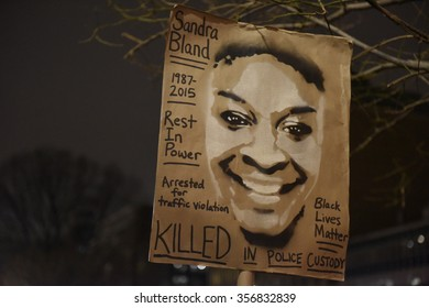 NEW YORK CITY - DECEMBER 30 2015: Several hundred activists gathered in Union Square for a candlelight vigil in memory of Sandra Bland, arrested for a minor traffic violation later found hanged.