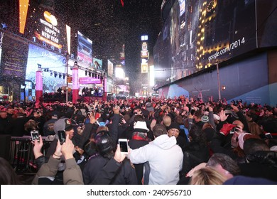 NEW YORK CITY - DECEMBER 31 2014: more than one million celebrants marked the new year in Times Square