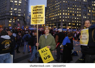 NEW YORK CITY - DECEMBER 5 2013: Fast Food Forward, a coalition seeking improved condition for workers, sponsored a rally in Foley Square December 5 3013 in New York City