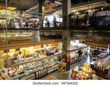 NEW YORK CITY - DECEMBER 5 2015: Whole Foods Markets, with 10 locations in New York City, has been under investigation for allegedly overcharging customers since June 2015. Interior Whole Foods Bowery