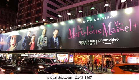 NEW YORK CITY - December  6, 2018: Advertisment for Amazon Prime Video's Emmy award winning show The Marvelous Mrs. Maisel