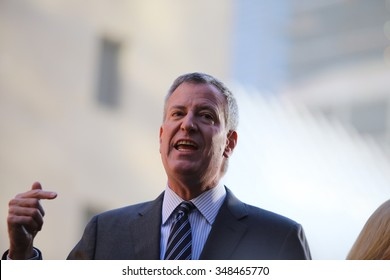 NEW YORK CITY - DECEMBER 6 2015: Mayor de Blasio gathered with state & federal officials at Ground Zero to lobby Congress to extend the Zadroga Act. Mayor Bill de Blasio