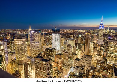 NEW YORK CITY - DECEMBER 7, 2018: Night skyline of Midtown Manhattan, aerial view at night.
