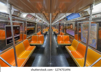 New York City - December 8, 2018: Empty train car in the New York City transit system.