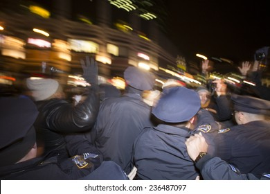 """NEW YORK CITY - DECEMBER 8 2014: several hundred activists staged a """"shut it down"""" rally at Barclays Center protesting police brutality that coincided with a visit by the Duke & Duchess of Cambridge"""