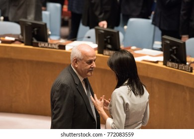 NEW YORK CITY - DECEMBER 8 2017: United Nations Security Council members debate the status of Jerusalem as Israel's capital. US Representative Nikki Haley talks with Palestinian observer Riyad Mansour