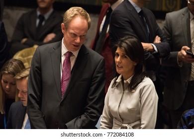 NEW YORK CITY - DECEMBER 8 2017: United Nations Security Council members debate the status of Jerusalem as Israel's capital. US Representative Nikki Haley with UK counterpart Matthew Rycroft