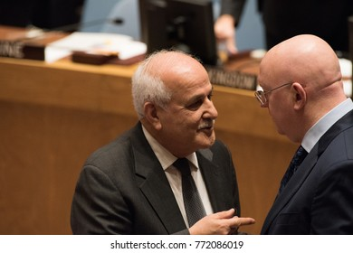 NEW YORK CITY - DECEMBER 8 2017: United Nations Security Council members debate the status of Jerusalem as Israel's capital. Palestinian Observer  Riyad Mansour with Russian Minister Vasily Nebenzia