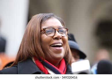 NEW YORK CITY - DECEMBER 9 2015: Speaker Melissa Mark-Viverito led an interfaith rally to denounce Donald Trump's call to ban Muslim entry into the US. Public Advocate Leticia James